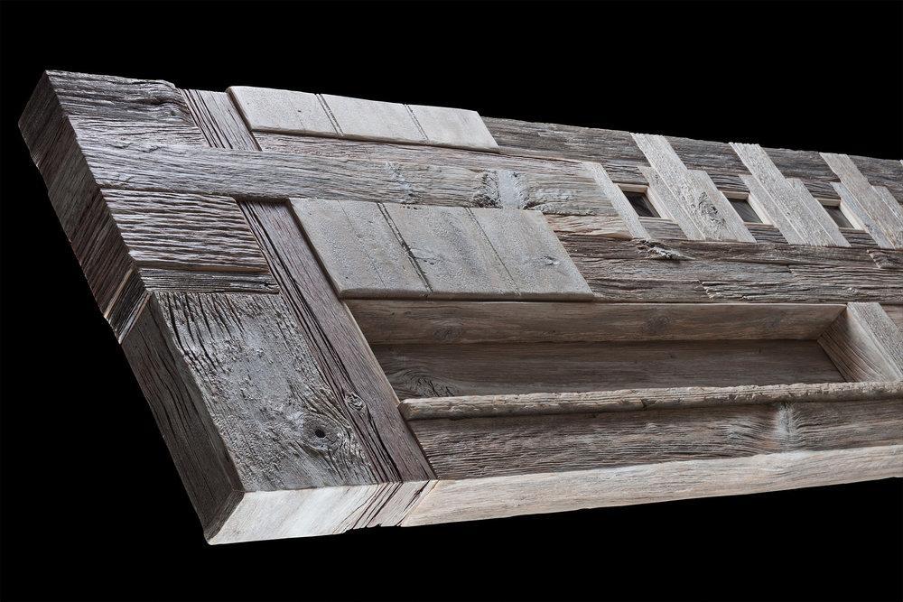 """Maze Mantel II"" 7 foot long headboard/mantel/shelf eco sculpture"