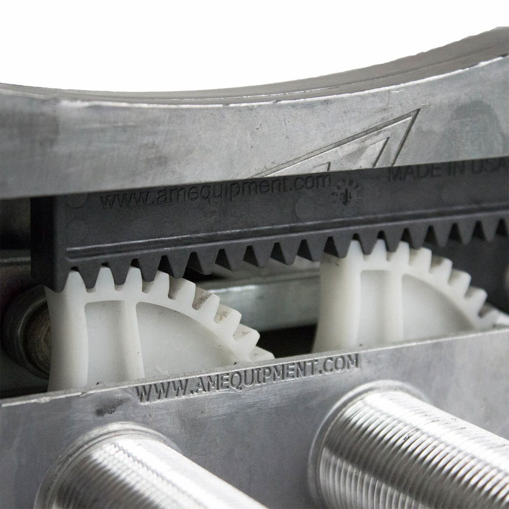 Patented dual sector gear drive delivers power to both pivot shafts.  US Patent #7,739,771