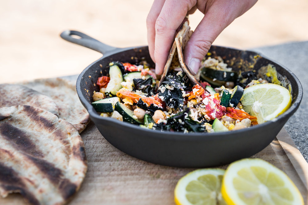 Garbanzo Veggie Skillet with Pita -