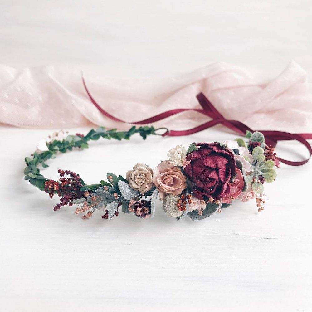 Gorgeous flower crown from Etsy seller: https://www.etsy.com/listing/247034277/burgundy-flower-crown-fall-bridal-flower