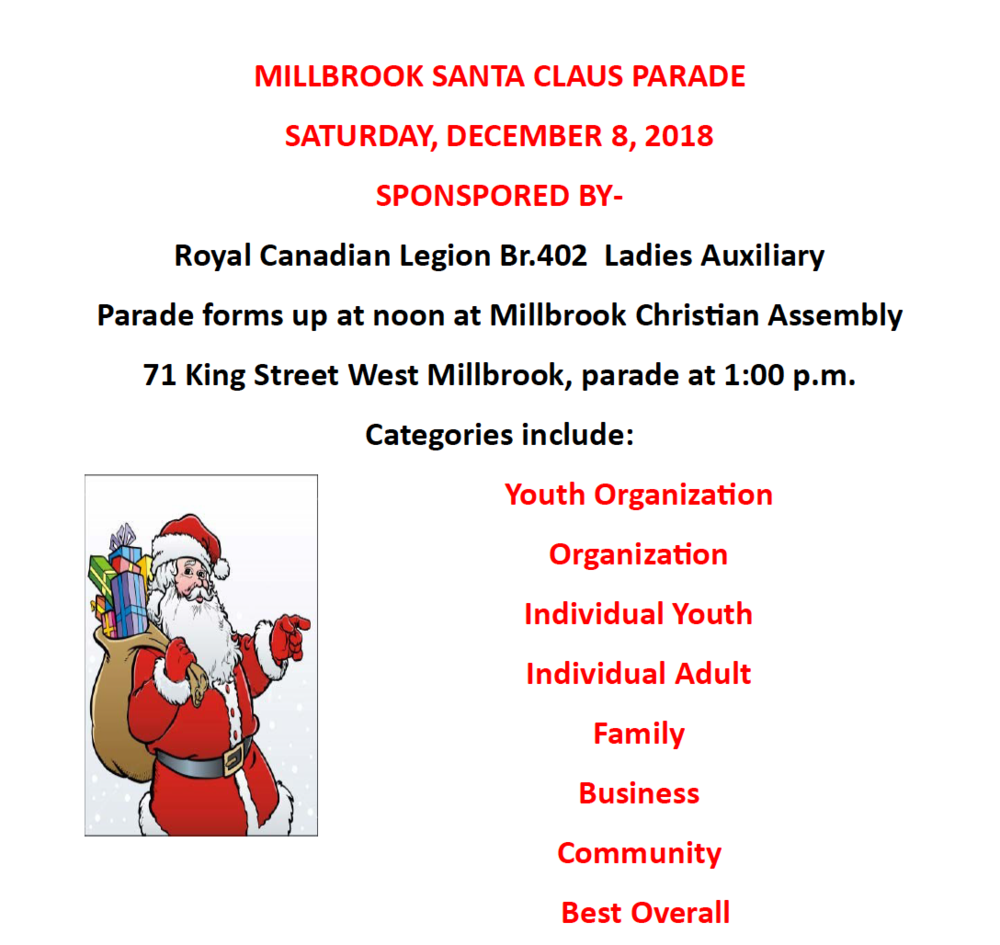 Millbrook Christmas Parade 2019 Millbrook Santa Claus Parade — CMCC project