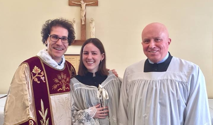 Michael and James , with fellow theological student and parishioner Martha Riddell.