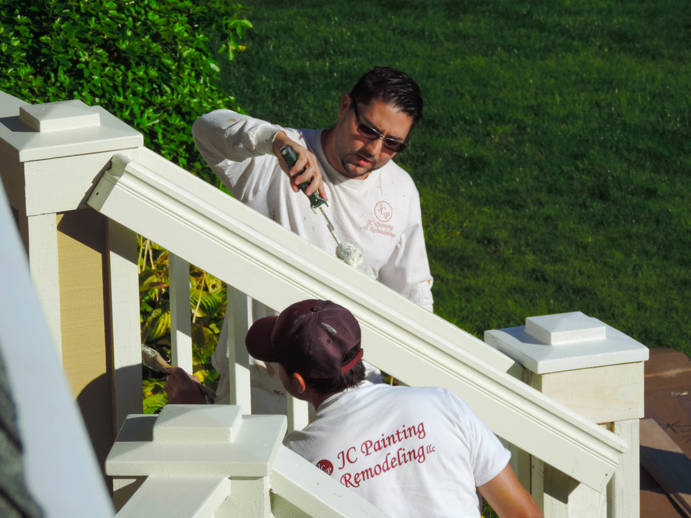Handrail being finished up by the best painters in Silverdale.