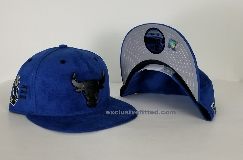 Matching New Era Chicago Bulls Suede snapback Hat For Jordan 5 Royal Blue  Suede