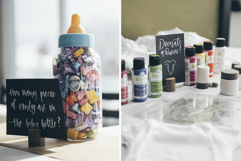 af47991a5 We also set up a fun little Onesie Decorating Station with some fabric paint,  sponges,markers, stencils, and a variety of baby onesies for our guests to  ...