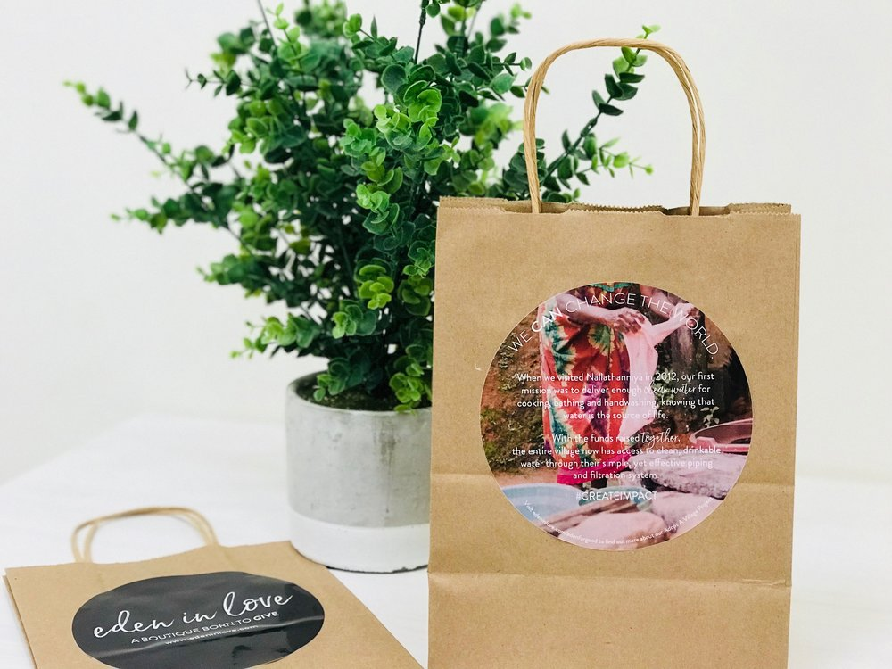 Read more about the Adopt A Village project on our Eden in Love shoppers (kraft bags) at NewBou now!
