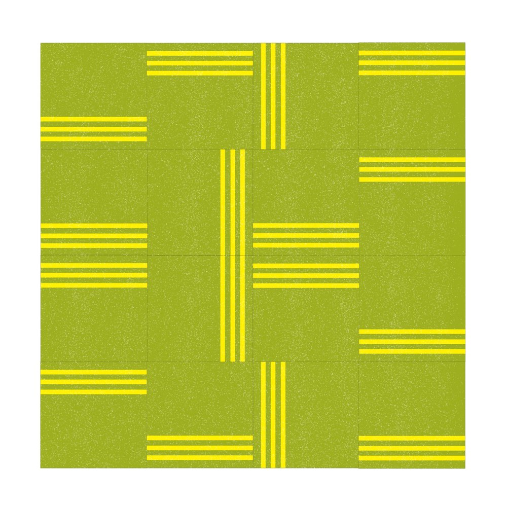 Grass Green With Lemon Yellow Lines