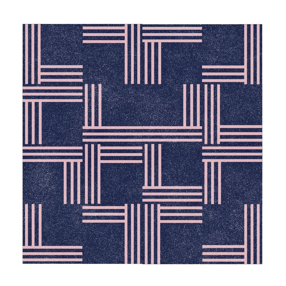 Midnight Blue With Dusty Pink Lines