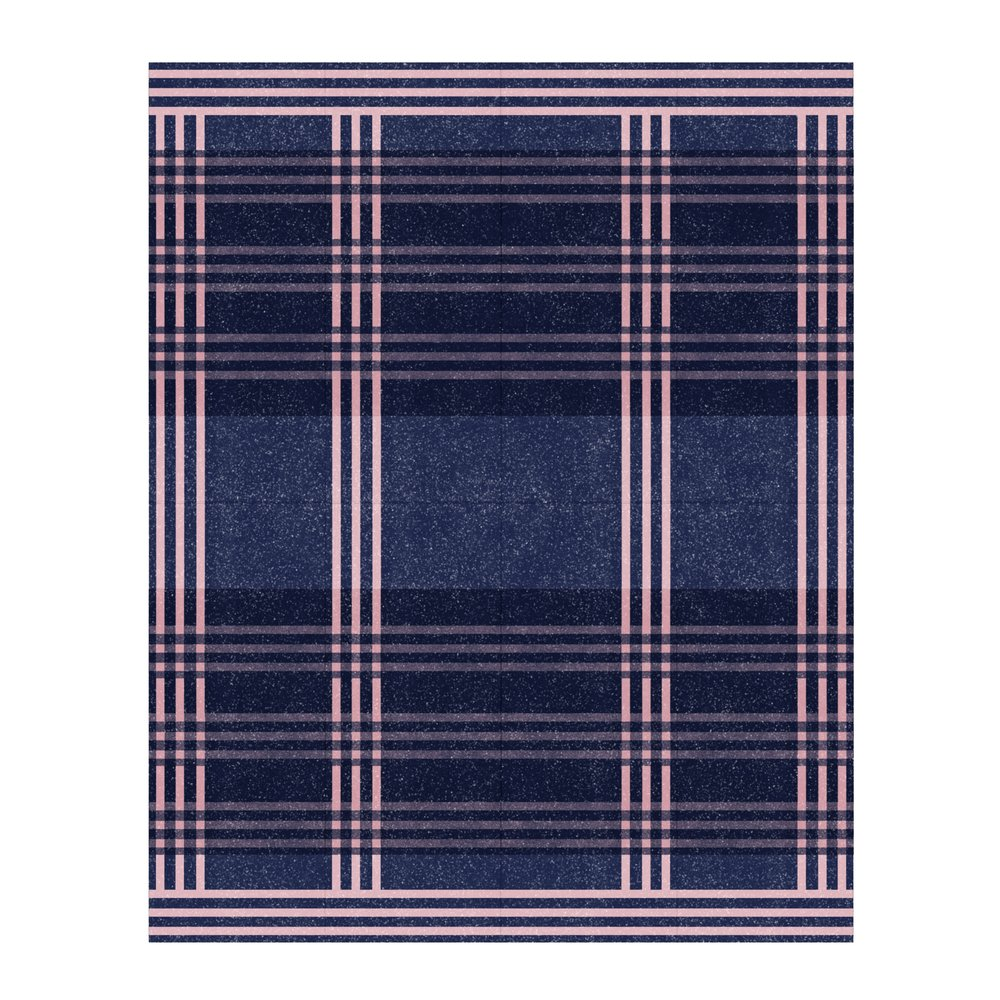 Midnight Blue With Dusty Pink Lines (Variation 2)