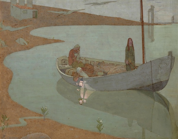 Federick Cayley Robinson (British, 1862-1927) To Pastures New, or Dawn (1904) Watercolor, graphite, and bodycolor on board. 28 by 35 1:2 in.
