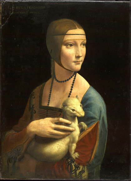 Leonardo da Vinci (1452-1519) Lady with an Ermine (1485) Oil on wood panel. 54 by 39 cm. Czartoryski Museum, Kraków.