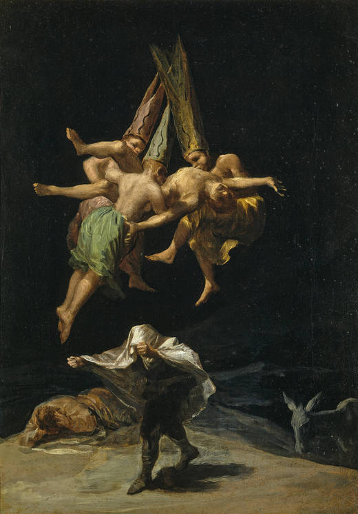 Francisco de Goya y Lucientes (Spanish, 1746-1828) Witches' Flight (1797-98) 43.5 x 30.5 cm. Museo Nacional del Prado, Madrid.