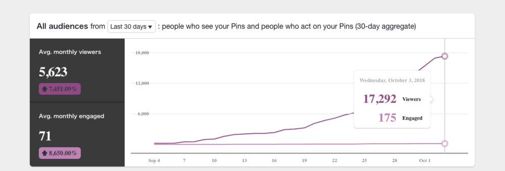 Example of Pinterest monthly viewers metric by White Box Design Studio