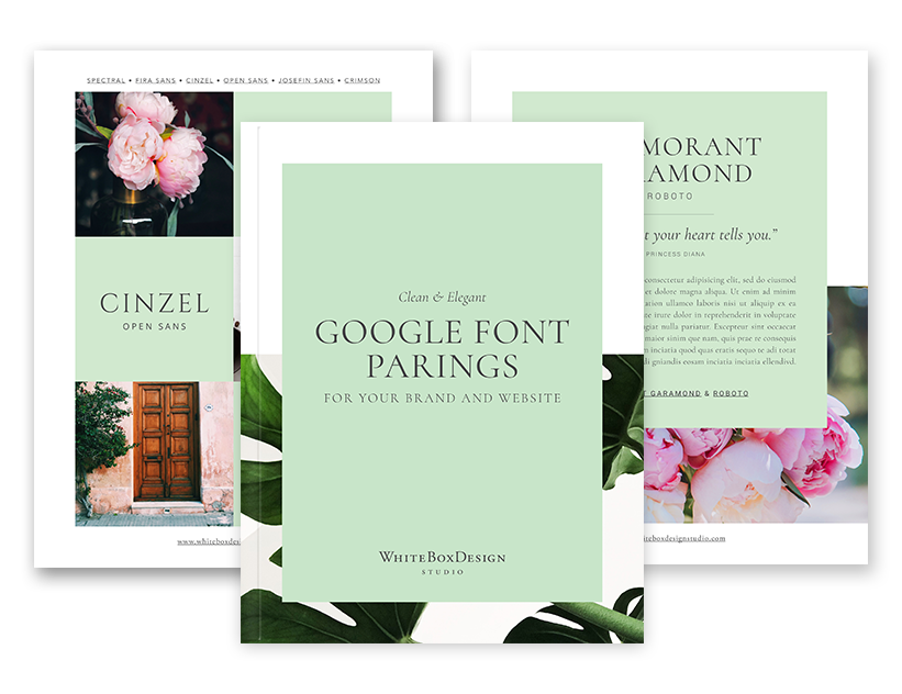 A Google font pairing guide by White Box Design Studio