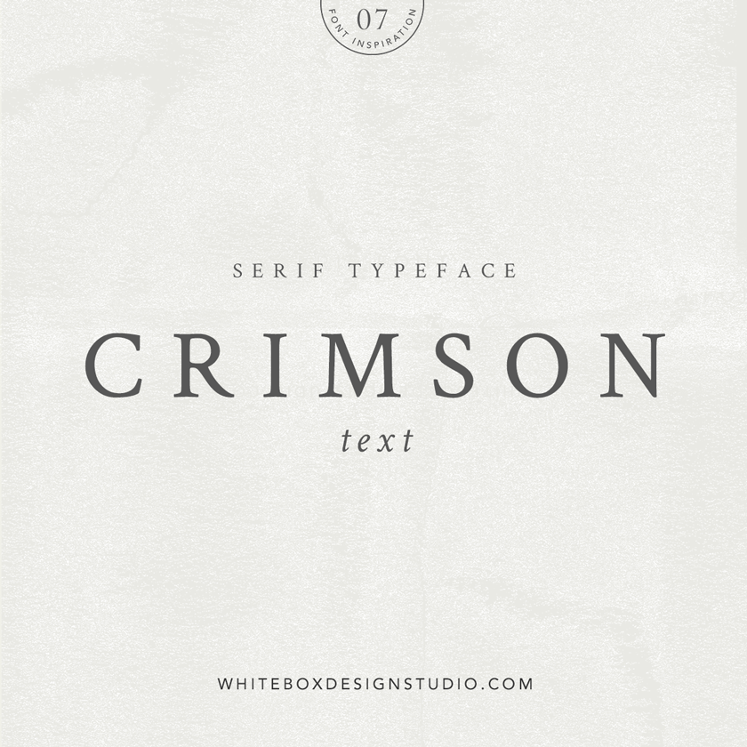 Wednesday inspiration: font & typography | No.7-Crimson Text typeface posted on White Box Design Studio