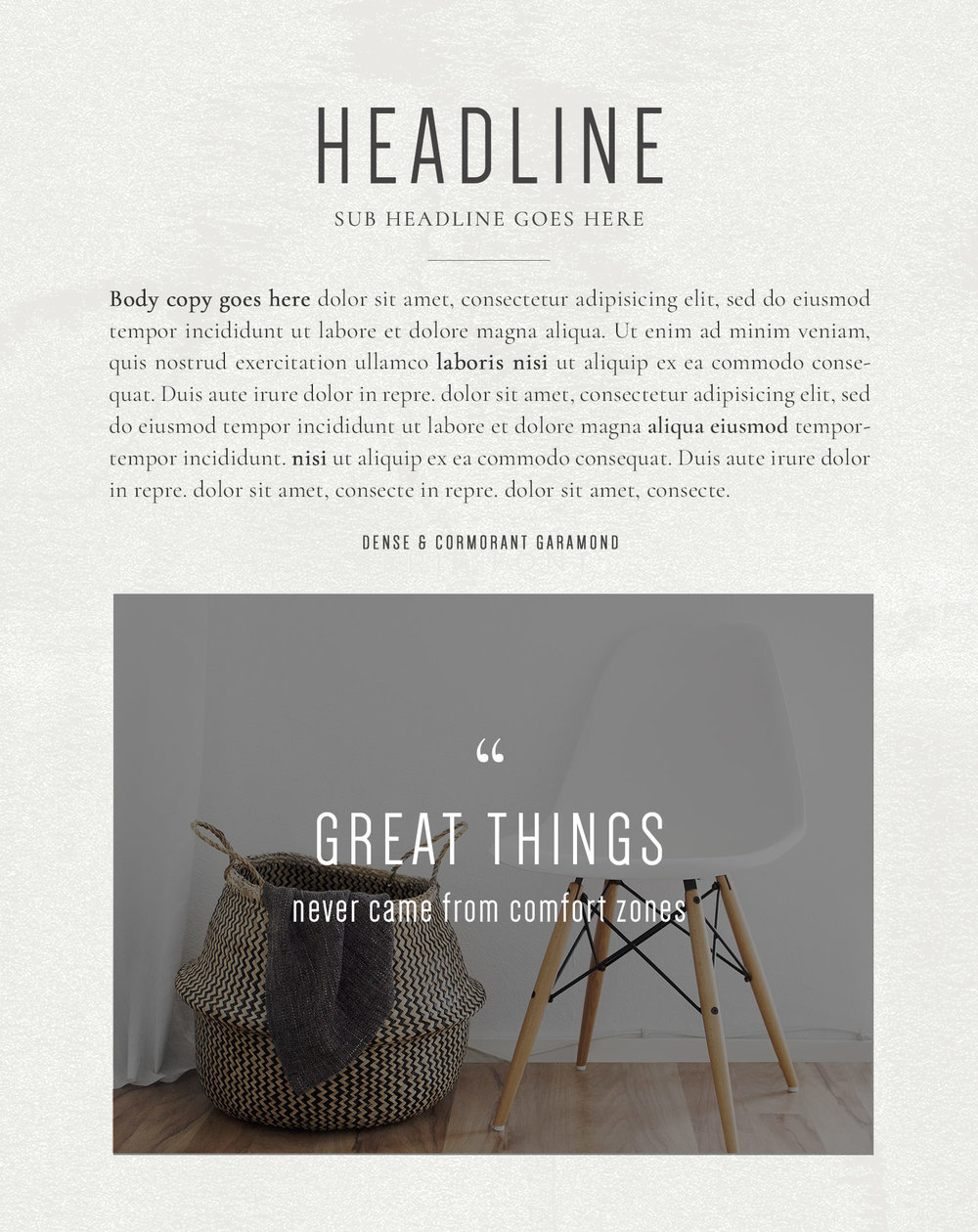 Wednesday inspiration: font & typography | No.10-Dense and Cormorant Garamond font combination by White Box Design Studio