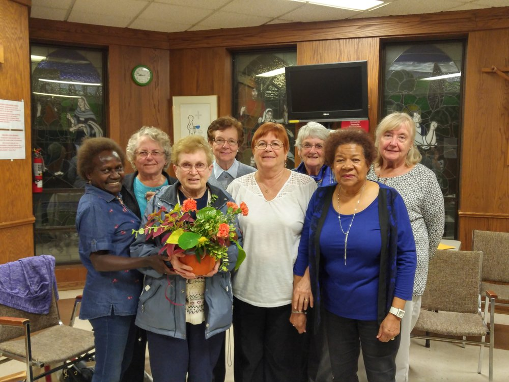 Catholic Women's League meeting on September 24, 2018. Flower arrangement created and donated by Elisabeth E. Stay tuned for our next meeting and events!