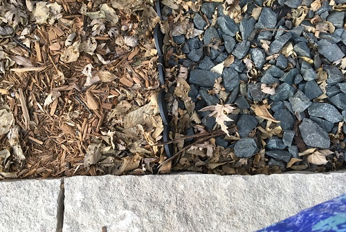 Create a mulched section for annuals with an edging strip to keep rock and mulch separated.