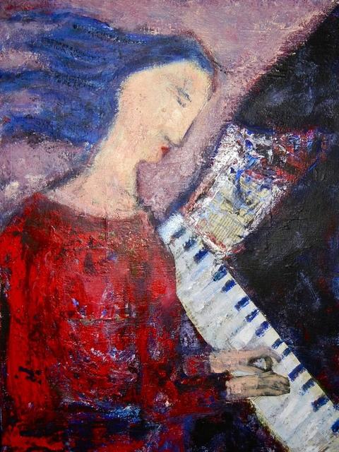 """Girl At Piano Mixed Media 18"""" X 24"""""""