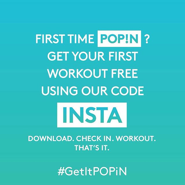 Any of our partner gyms. As long a workout as you want. First one's on us. FREE. Seriously, #noexcuses #fitnessapp #downloadnow #GetItPOPiN