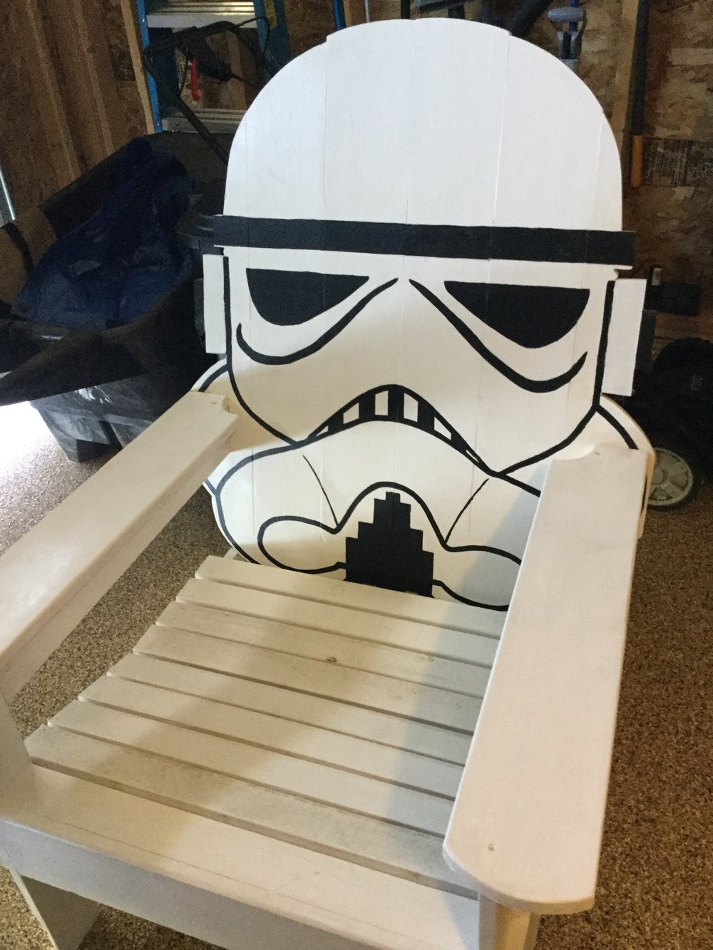 The Chair. - This is the Stormtrooper adirondack chair the eldest Brady boy made me for my birthday and I fully plan to sit in this chair, in my Kylo Ren outfit, and look like a damn boss.