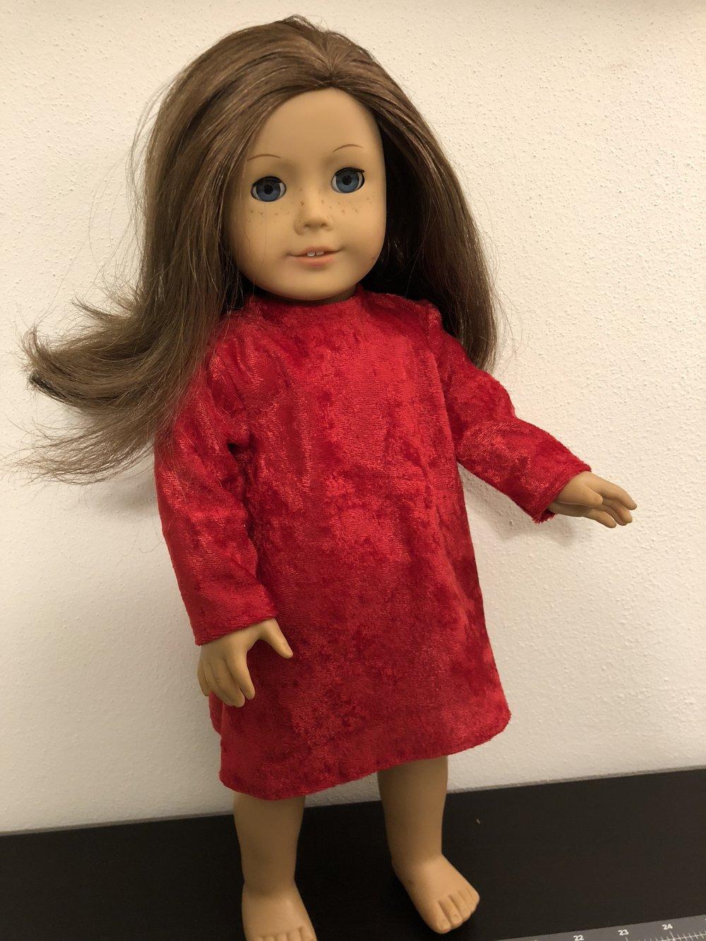 red velour long-sleeved dress...getting sassy...