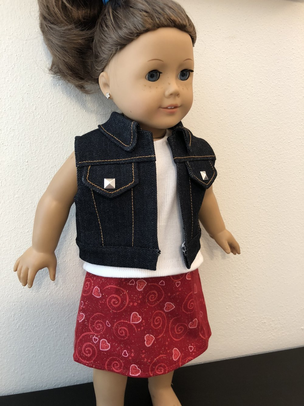 Denim vest with rib knit tank and skirt