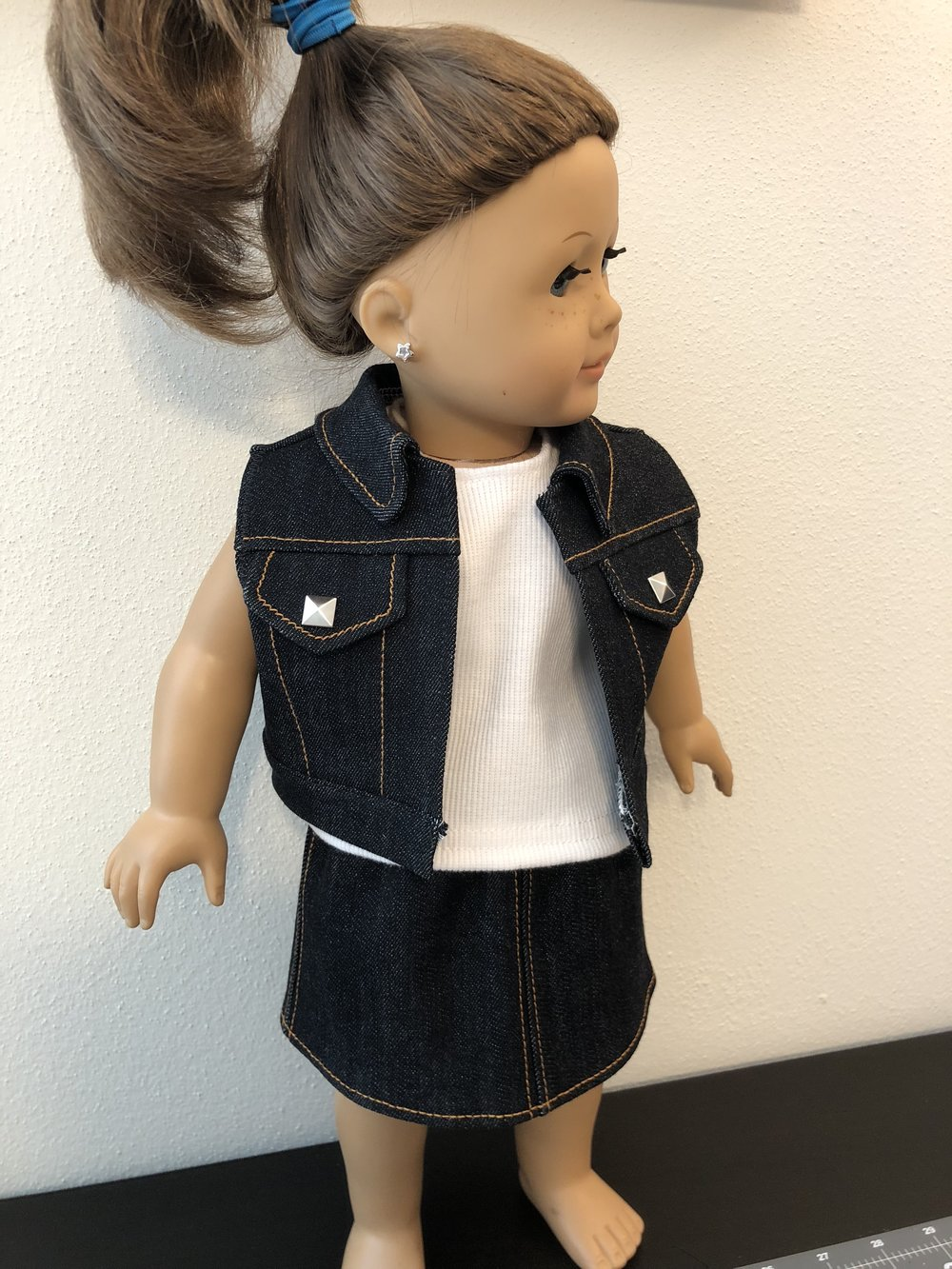 Denim vest with denim skirt and rib knit tank