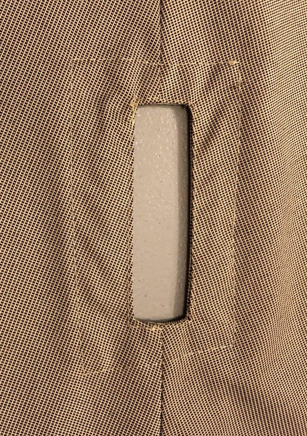 Original fabric, hole for the frame to enter