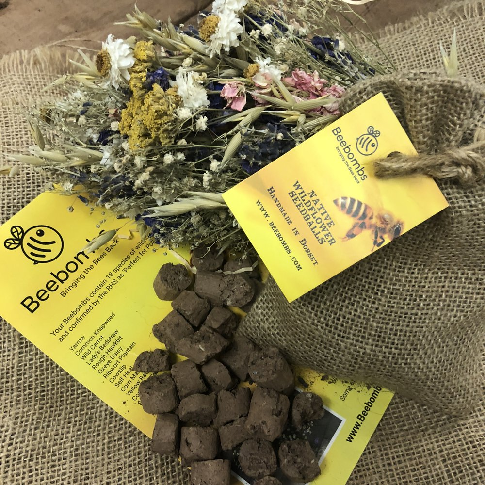 Each pack contains thousands of seeds from 18 species of native UK wildflower. We send a detailed info leaflet and there are around 20 handmade pellets in each pack of Beebombs
