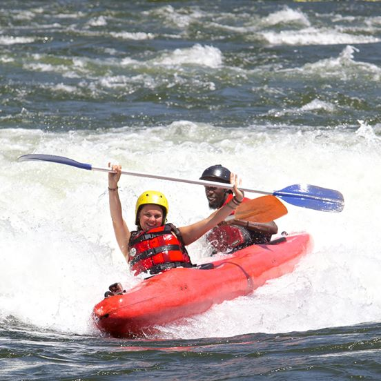 HIGH ADRENALINE ADVENTUREON THE BIGGEST WHITE WATER - Looking for the biggest adrenaline rush on the Mighty Nile? Tandem kayaking lets you take on some of the biggest and best rapids in a single day.Facing huge wave trains, crashing white water and powerful hydraulics, it's a team effort between you and your guide to make it through all of the rapids successfully.We've partnered with Kayak The Nile to offer our clients the very best kayaking experience. You'll have the best guides and equipment from Kayak the Nile, along with the logistics and incredible day out that Nalubale are renowned for.Trips run everyday with minimum client number of 2 from Jinja or 4 from Kampala