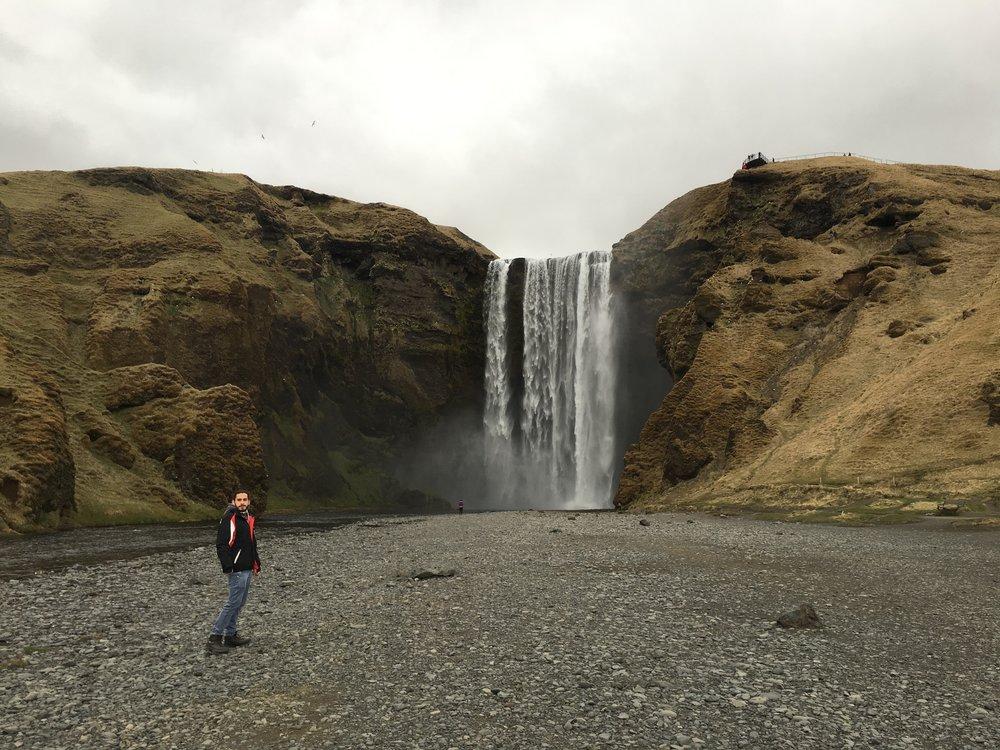 Lenny at Seljalandsfoss waterfall in Iceland