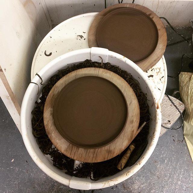 Sometimes a flat bottom is a good thing #notaseasyasitlooks #pleaseworkthistime #pleasedontcrack #pleasebeflat #plates #pottery #ceramics #secondtimelucky #iwillnotbedefeated #vulcan #clay #flatbottom #bottom #flat #smooth #flatbase #uptothekilngodnow