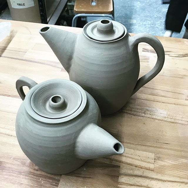 Trying something new #new #tryingsomethingnew #tea #teapot #ceramics #pottery #clay #wheelthrown #throwing #bigandsmall #survivethekilnplease #makersofinstagram #instaclay