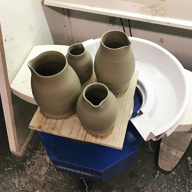 Time to turn & add some handles #jug #handles #pottery #ceramics #wheelthrown #instaceramics #handmade #clay #pour #throw #nextstep #weekendfun