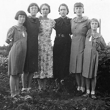 - My Mom with her sisters - home-made haircuts and hand-me-down clothes, during The Great Depression.