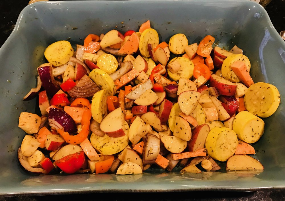 Easy roasted root vegetables on a blue serving dish