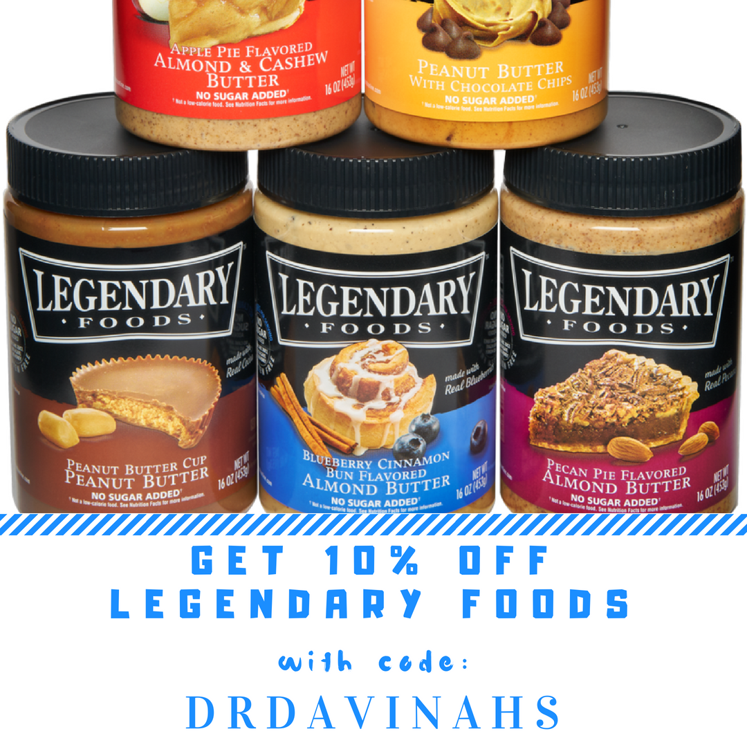 Legendary Foods Nut butters in Apple Pie, Blueberry Cinnamon, Pecan Pie, Peanut Butter Cup with Discount Code