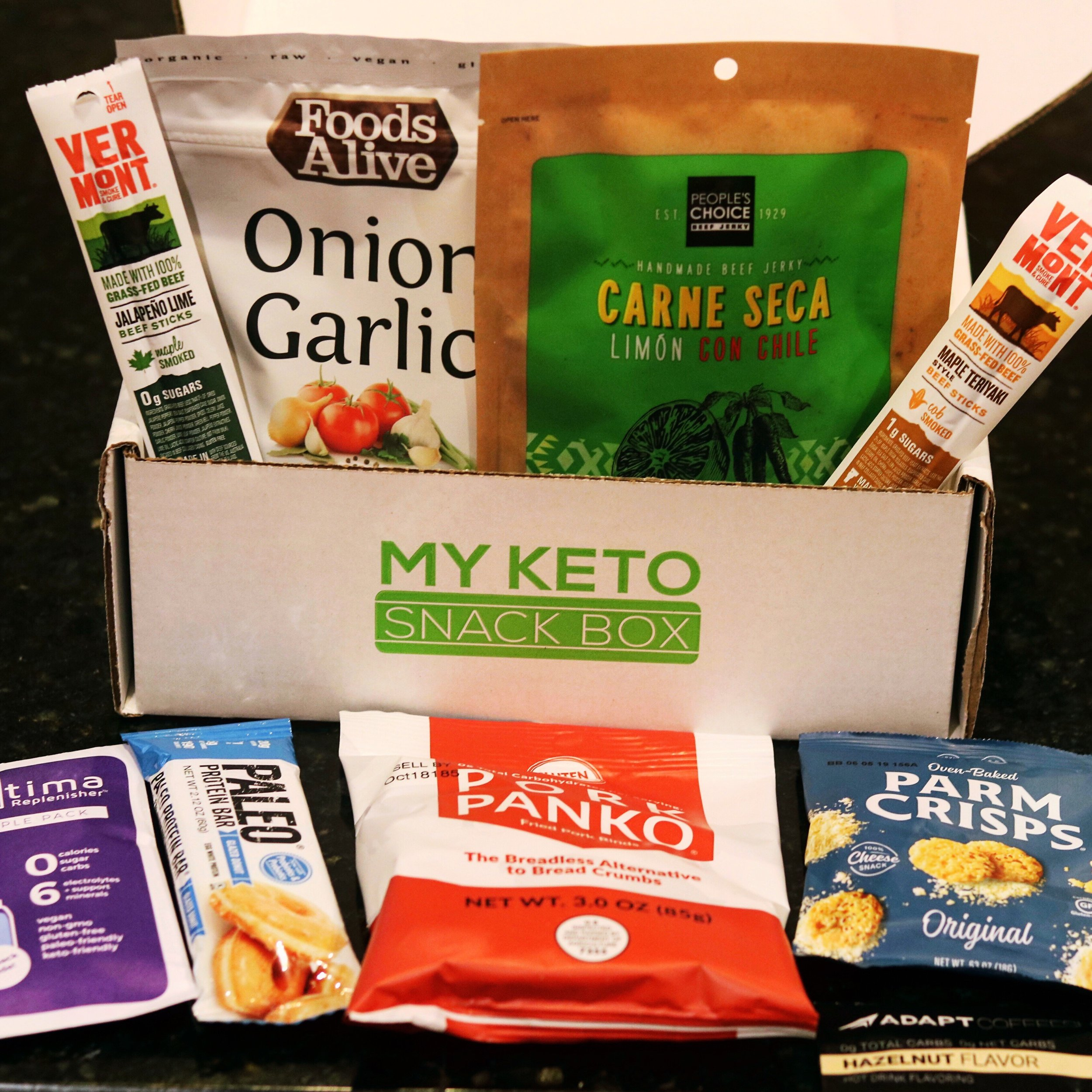 An assortment of items for My Keto Snack Box