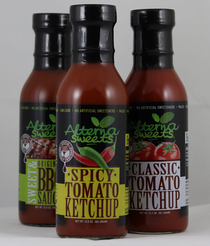 Three bottles of AlternaSweets - BBQ Sauce, Spicy Ketchup and Regular Ketchup