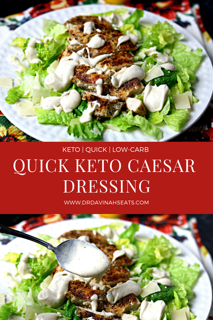 A recipe for creamy caesar dressing that is keto-friendly, delicious, and super easy to make (simply add all ingredients in a blender and done)!