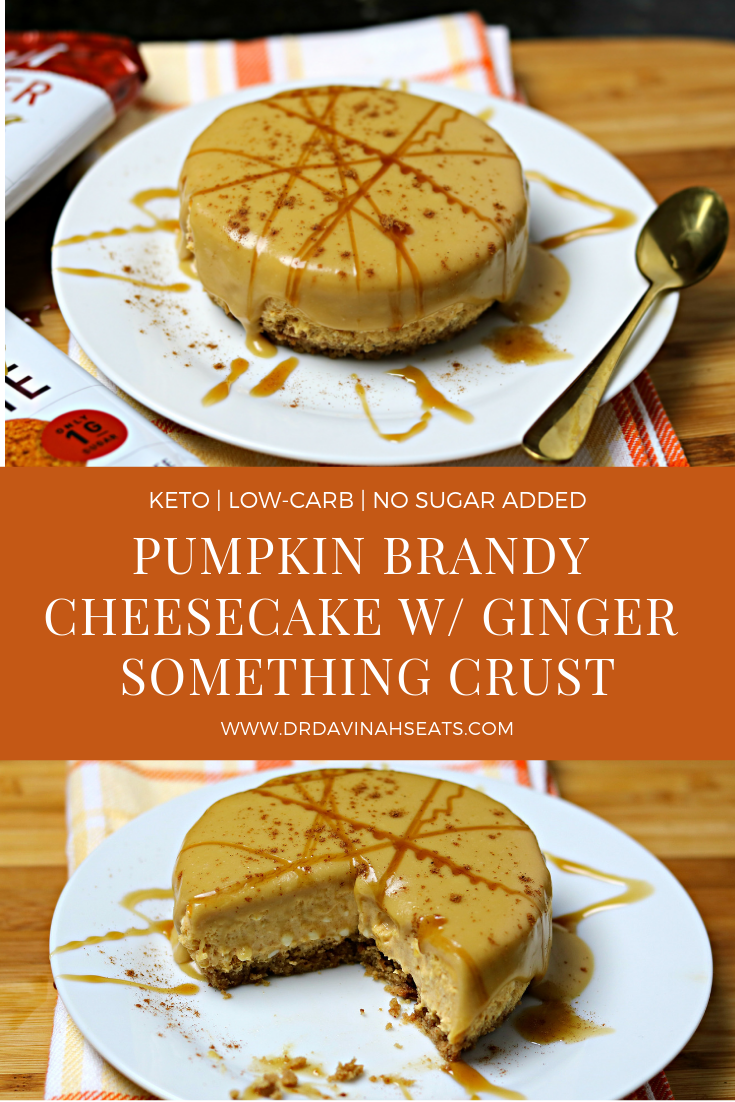 This keto-friendly and low-carb holiday recipe is the perfect way to indulge while cutting sugar and carbs. It features pumpkin cheesecake infused with brandy as well as a Ginger Something cookie crust.