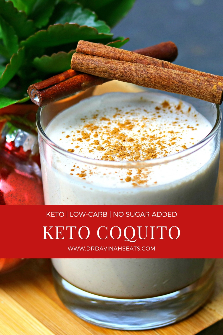A quick, keto-friendly and no sugar added recipe for Coquito, or Spanish Eggnog, that is perfect for the holiday season. You can include this in your list of keto happy hour cocktails or omit the alcohol for a family-friendly drink.