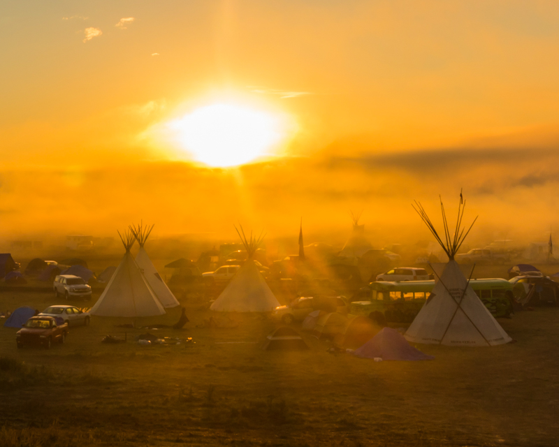 """""""Saturday Morning Foggy Bus 2"""" September 17th, 2016 at Oceti Sakowin on the Standing Rock Sioux Reservation near Cannonball, ND"""