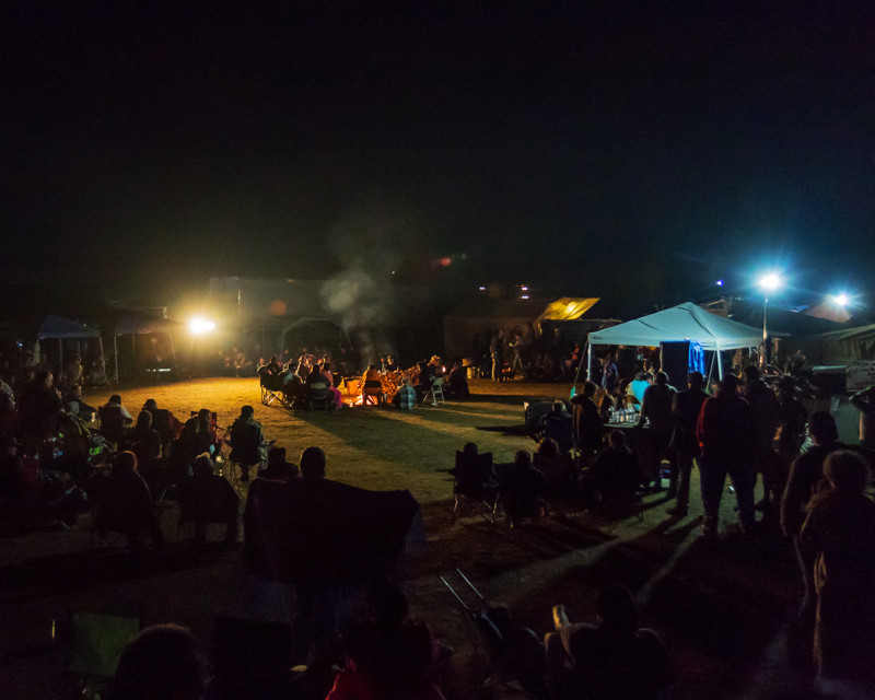 """""""Main Campfire by Night"""" September 17th, 2016 at Oceti Sakowin on the Standing Rock Sioux Reservation near Cannonball, ND"""
