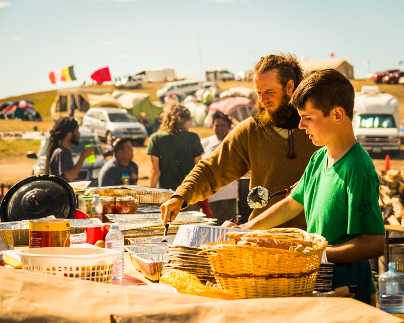 """""""Preppin' Lunch"""" September 18th, 2016 at Oceti Sakowin on the Standing Rock Sioux Reservation near Cannonball, ND"""