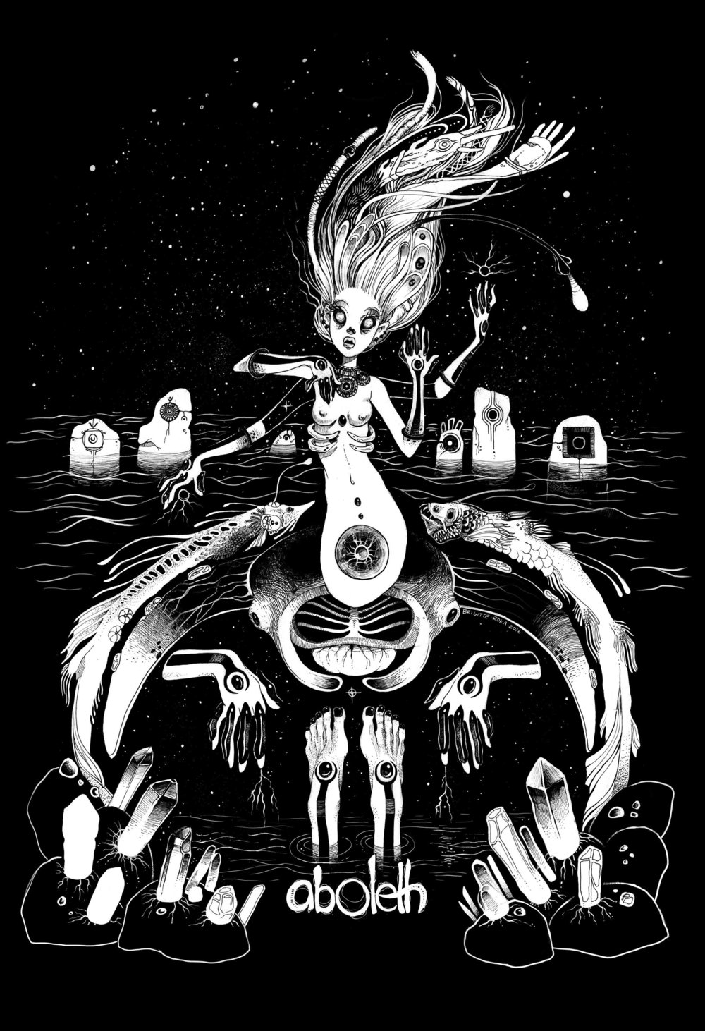Sea Witch | Used as shirt design for Aboleth | Pen and Ink on paper | 2016