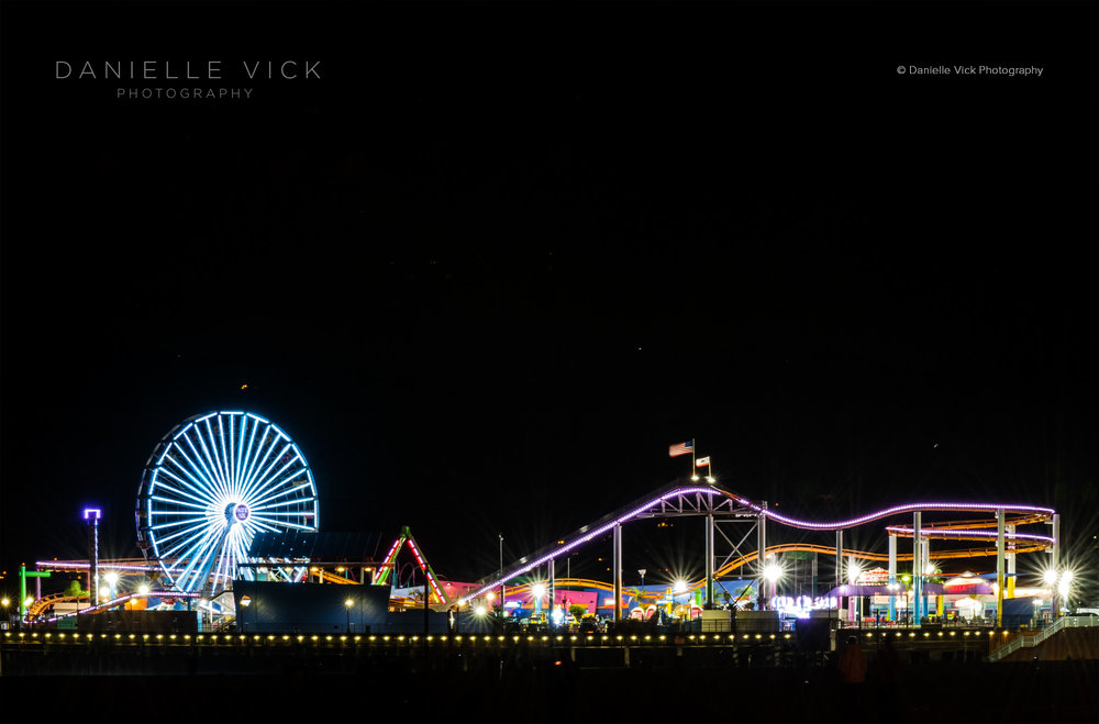 Santa Monica Pier during the Super Blue Blood Moon, January 31, 2018.