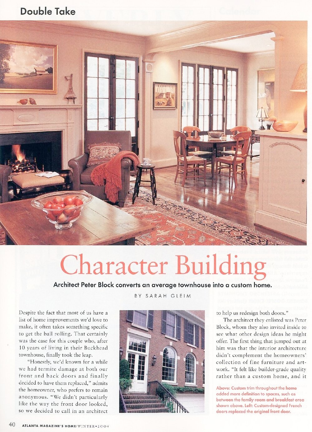 Character Building - Published in Atlanta Magazine's HOME, Winter 2004