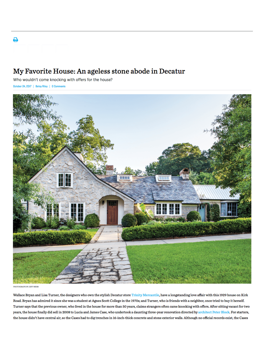 Published in Atlanta Magazine's HOME, Fall 2017